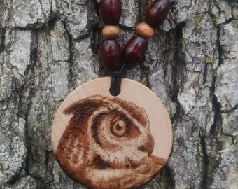 Handcrafted, Wood Burned-Owl Necklace.