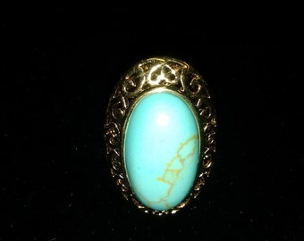 Gold-tone Turquoise Ring size 6