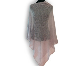 Poncho in nude mohair
