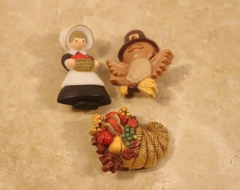 1980s Hallmark Thanksgiving pins,Pilgrim, Turkey, Horn of plenty, cornucopia pin