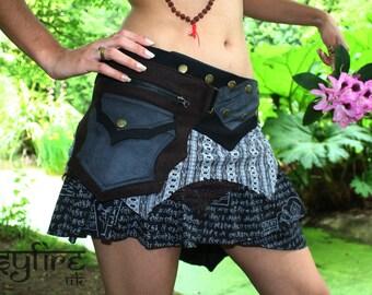 SUEDE LEATHER SKIRT - Pocket Skirt, Festival Skirt, Hippie Skirt, Boho Skirt, Psytrance Skirt, Lace Skirt, Psytrance Skirt, Gypsy Skirt, Psy