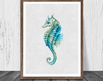Seahorse Decor, Seahorse Print, Blue Seahorse Print, Animal Print, Printable Art, Ocean Animal Print, Seahorse Painting, Instant Download