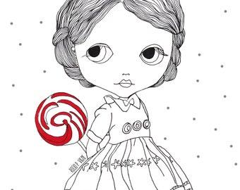 Lady Jane with lolypop-original artwork, posters kids