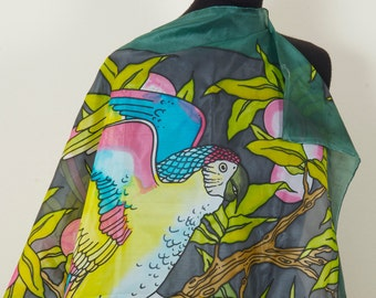 SOLD. Multicolored parrot. Handpainted Square 100% Silk Scarf dyed with silk dyes.  Gift for her