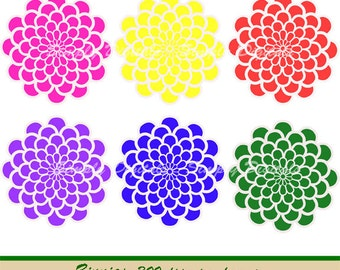 Zinnias. Zinnia Clipart. Flower Clipart. Wedding Clipart. Scrapbooking. Greetings. Invites. Instant Download. SD.