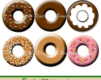 Donuts Digital Clipart. Scrapbook Clipart. Digital Collage. Instant Download. SD