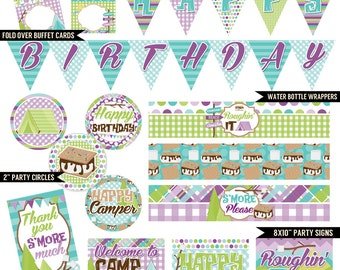 Glam Camper Digital Printable Girls S'mores Camping Birthday Party Printables Package INSTANT DOWNLOAD