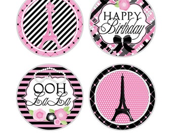 """Pink Parisian Digital 2"""" Two Inch Party Circles Girls Birthday Party Printable Paris Cupcake Toppers INSTANT DOWNLOAD"""
