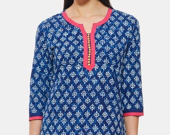 Indigo Hand block printed Ethnic Indian Tunic/ Kurti