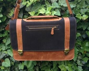 "Suede Leather Messenger Bag / Velour Leather 13"" Laptop Briefcase / Velour Macbook Leather Messenger Bag / Mens Laptop Bag"