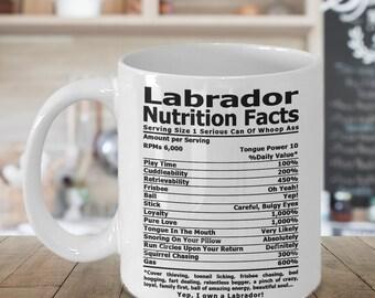Labrador Nutrition Coffee mug, Tea mug, Coffee cup, Labrador Retriever Gifts, Nutrition Type Font | Lab Coffee Mug