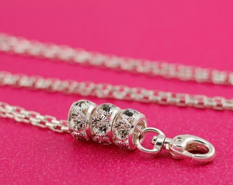 Stunning Interchangeable Silver Lanyard Badge Holder Necklace