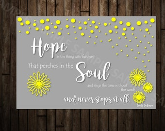 """Printable Card, Hope is the Thing with Feathers, 4x6"""", Instant Download, High Definition, Memorial Card"""