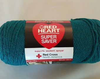 Red Heart Super Saver Yarn REAL TEAL 7 oz Worsted Weight 4