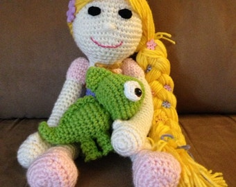 Crocheted Rapunzel Doll with Little Chameleon Pascal