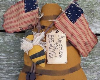 Primitive Bee Skep,  Patriotic Bee Skep,  Wall Decor, Bee Hive Shelf Tuck,  Americana Door Greeter,  Cupboard Tuck, Country Decor, Ornies
