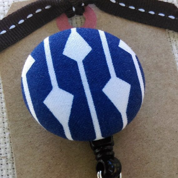 Badge Reel - Retractable ID Badge Holder - Navy White Arrow Modern