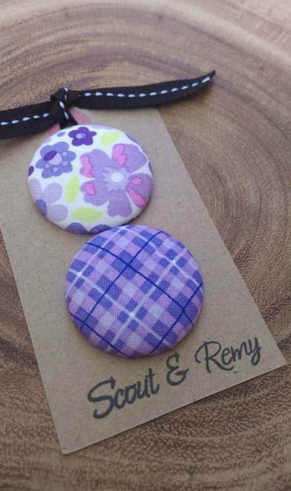Needle Minder - Plaid Floral Purple Large (2 in 1 Reversible)