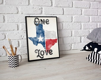 50% OFF SALE - Texas One Love Wall Print || Texas Decor | High Quality Texas Wall Art Print