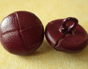 10 leather buttons red 15 mm (1249) leather buttons red button