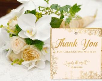 Gold Wedding Favor Tags, Wedding Favour Tags, Gold Wedding Thank You Tag, Thank You Tag for Favors, Printable Wedding Tag, Digital Tag