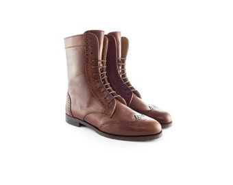 Women Handmade Combat Ankle Boots in Caramel Brown Leather
