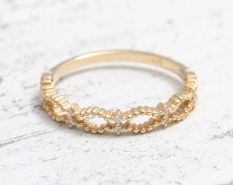 Natural Diamonds Dotted 14K Solid Gold Band Ring, Tiny Diamonds Beads Ball Ring