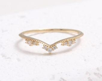 Cubic Zirconia V Chevron Solid Gold Thin Band Ring, CZ Milgrain Tiara Ring