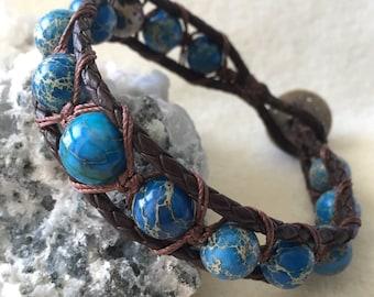 Blue Jasper Bracelet, Leather Cord Wrap Bracelet, Gemstone Bracelet, Brown Wrap Bracelet