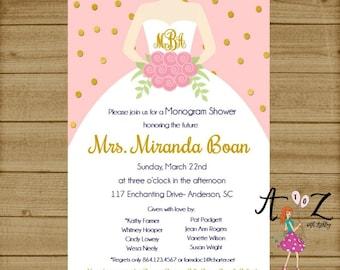 Monogram Shower Invitation - Bridal Shower Invitation - Bridal Shower Invite - Monogram Invitation - Monogram Invite - Wedding Shower Invite