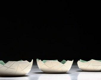 Ceramic Bowl, Green/White, Small