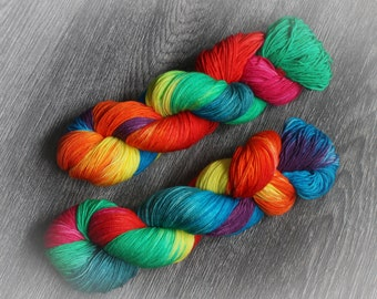 100g Superwash Merino or MCN hand dyed yarn 'Summer Skittles' sock weight OR DK / hand dyed yarn / indie dyer / crochet / knitting