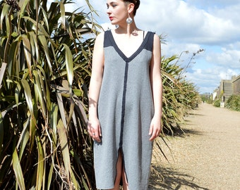 Handmade Sleeveless Dress in 100% Organic Jersey, Fully Reversible in Black & Grey