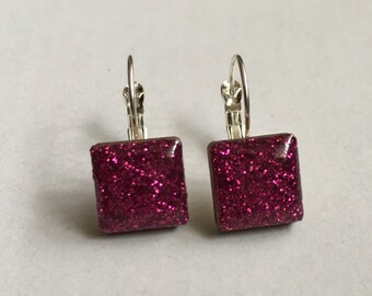 Pink Glitter Square Silver-Plated Hanging Earrings