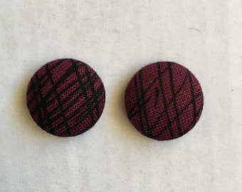 15mm Fabric Studs • Burgundy/Black Etch • Surgical Steel • Fabric stud earrings • button studs • button earrings