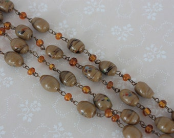 Vintage Bead Necklace - Brown and Amber Beads - Long Vintage Necklace - Art Glass Beads