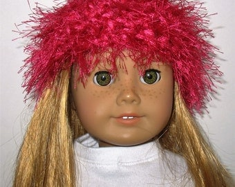 """18"""" Doll Clothes fit American Girl Crocheted Wild & Crazy Fun Fur Hat HOT PINK"""