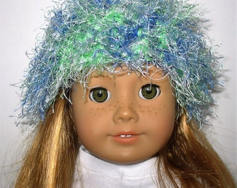"""18"""" Doll Clothes fit American Girl Crocheted Wild & Crazy Fun Fur Hat BLUE LAGOON Blend"""