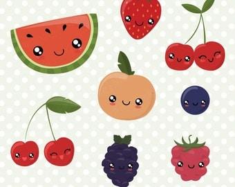 Fruit Clipart Set, kawaii fruit clip art, kawaii clipart, fruit vector, summer fruits, commercial use with Instant Download