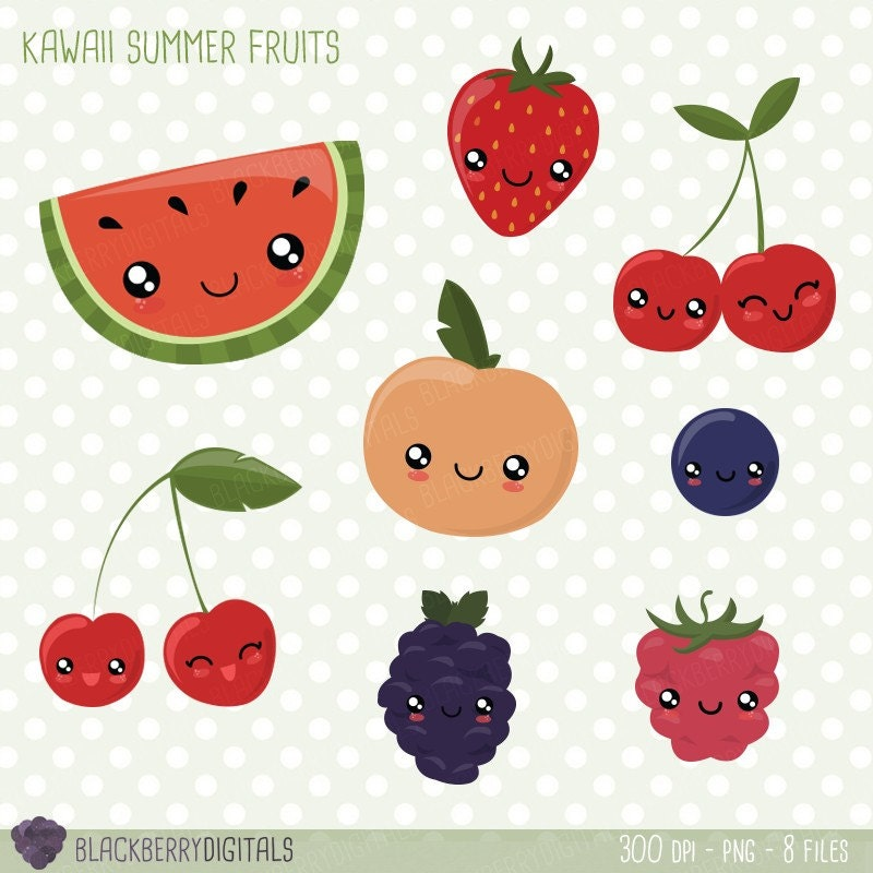 Fruit Clipart Set kawaii fruit clip art kawaii clipart