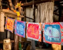 HAPPY ELEPHANTS prayer flags Color bunting Garden flags Wall hanging Banner Feng-shui Yoga Bohemian decoration Good luck sign Indian style