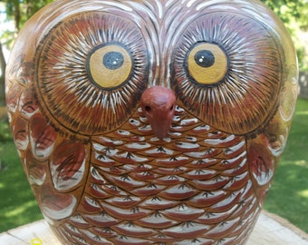 OOAK Hand Painted Owl Gourd, with pyrography, this gourd is 11 inches tall and 21 inches around