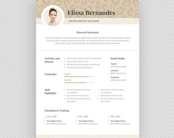 "Resume Template / CV Template + Cover Letter for MS Word and Photoshop | Instant Digital Download - ""Cheetah"""