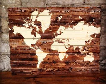 Stained Wood Map Decor