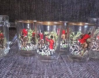 Vintage Shot Glasses, Mini Tankards, Hunting Scene