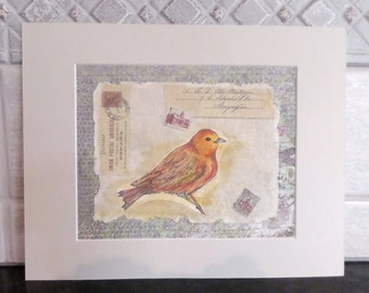 original Water Color Yellow Bird Collage Art