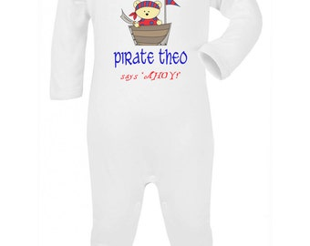 Personalised pirate romper, baby pirate clothing, baby party clothing, pirate party, personalised pirate onesie, baby boys birthday suit