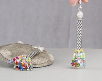 Grey hanging earrings, beadwork, earrings, colorful earrings, hippie style silver, boho,