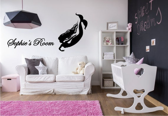 Mermaid Silhouette with Custom Name - Vinyl Sticker Decal