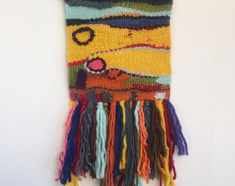 Hand woven, one of a kind, wall hanging - box of crayons